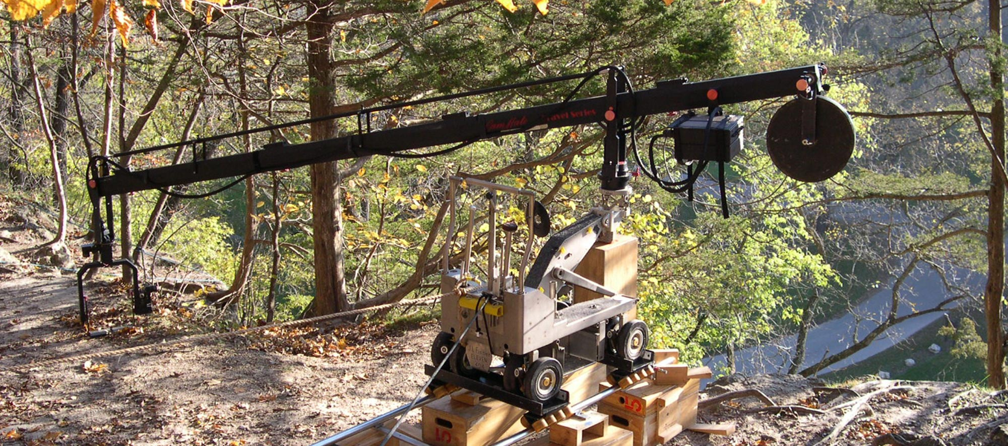 Rails and camera dolly on location in park