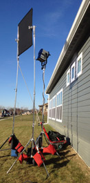 Lighting equipment next to building